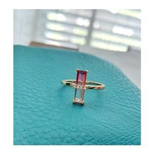 14k Elongated Emerald Cut Faded Pink or Watermelon